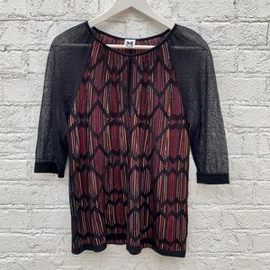 Beautiful Missoni top with sheer sleeves & keyhole